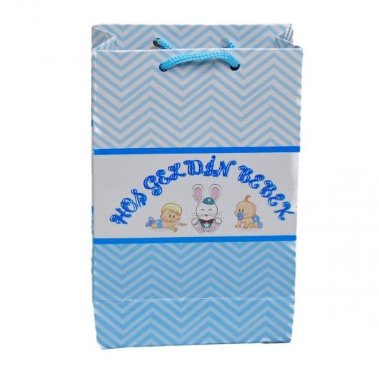 İp Saplı Karton Çanta Hoşgeldin Bebek Tavşanlı 11X17 CM (25 Adet)