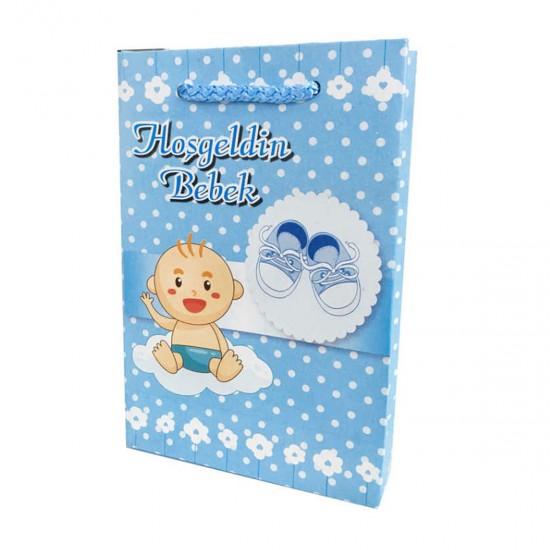 İp Saplı Karton Çanta Hoşgeldin Bebek Yazılı 11X17 CM (25 Adet)