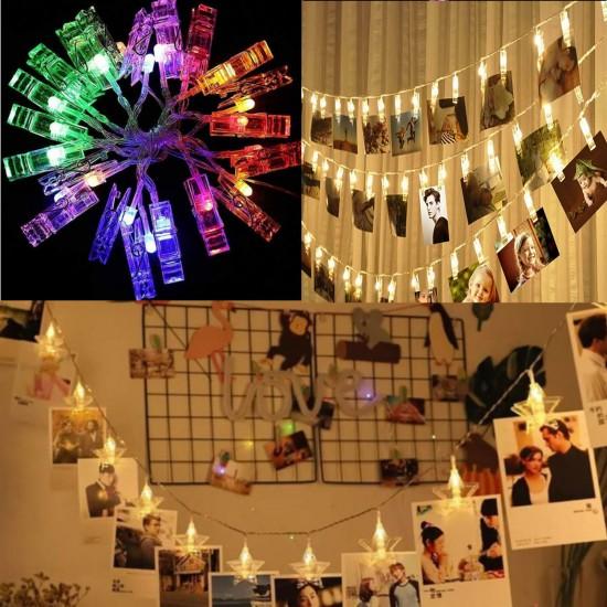 Işıklı Fotoğraf Mandalı 20 Adet Dekoratif Led Işıklı 4 Metre