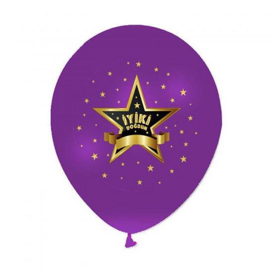 İyiki  Doğdun Metalik Balon Yıldızlı Model 12 Inç (20 Adet)