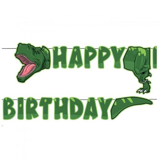Jurassic Temalı Happy Birthday Uzar Duvar Yazı Seti 250 CM