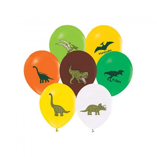 Jurassic Temalı Pastel Balon Karışık Renk (20 Adet)