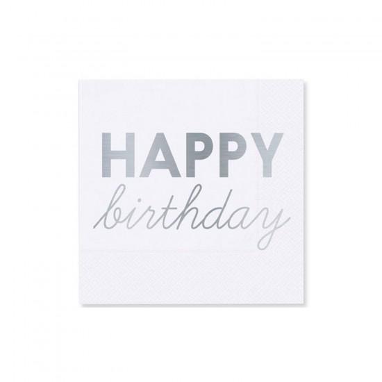 Kağıt Peçete Beyaza Varak Baskılı Happy Birthday 33X33 CM 16 Adet