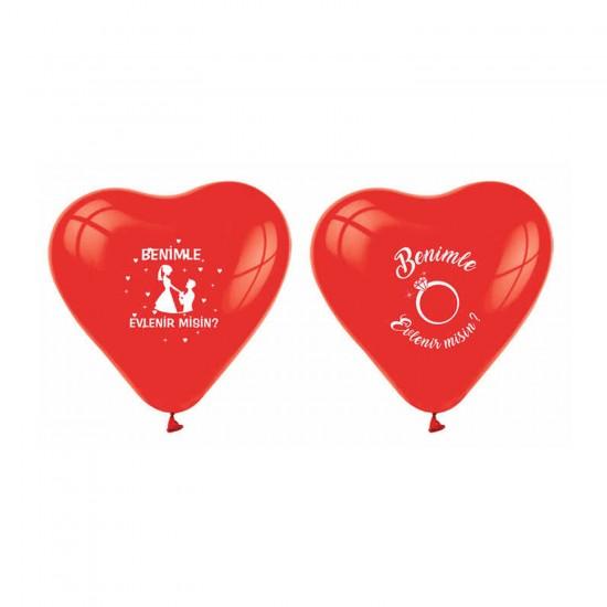 Kalp Balon Benimle Evlenirmisin Baskılı Kırmızı (20 Adet)