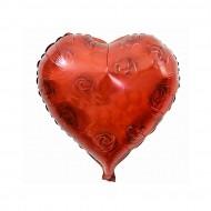 Kalp Folyo Balon Kırmızı Güllü 45X45 Cm