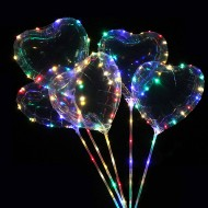 Kalpli 3 Fonksiyonlu Işıklı Balon Transparent Şeffaf Led Çubuklu