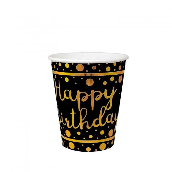 Karton Bardak Parlak Altın Varak Baskılı Happy Birthday (6 Adet)