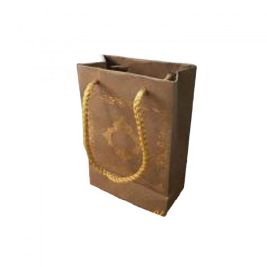 Karton Hediye Çantası Saray Desenli Gold Yaldızlı 12X17 (25 Adet)