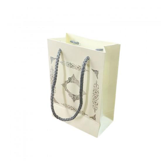 Karton İp Saplı Hediye Çantası Saray Desenli Gümüş 12X17 25 Adet