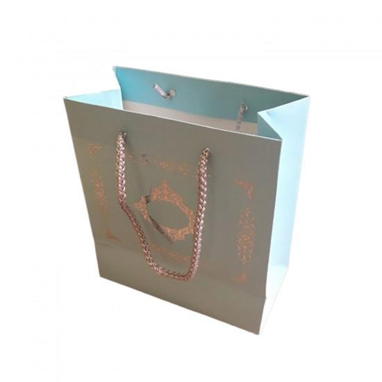 Karton İpsaplı Hediye Çantası Saray Desenli Gümüş 15X17X8 10 Adet