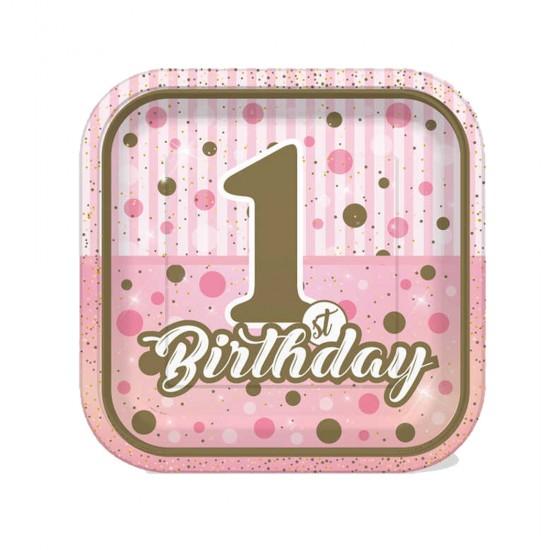 Karton Kare Tabak 1 Yaş Birthday Pırıltılı First (8 Adet)