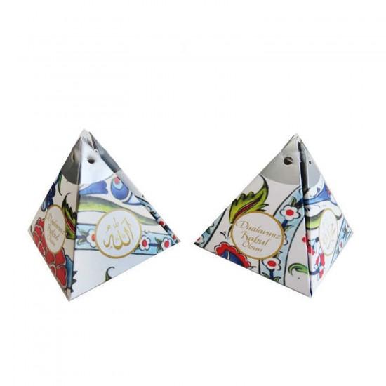Karton Lokumluk Ayetli Lale Baskılı Piramit Modeli (50 Adet)