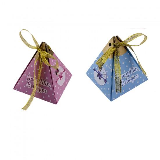 Karton Lokumluk Hoşgeldin Bebeğim Pusetli Piramit Modeli 50 Adet)