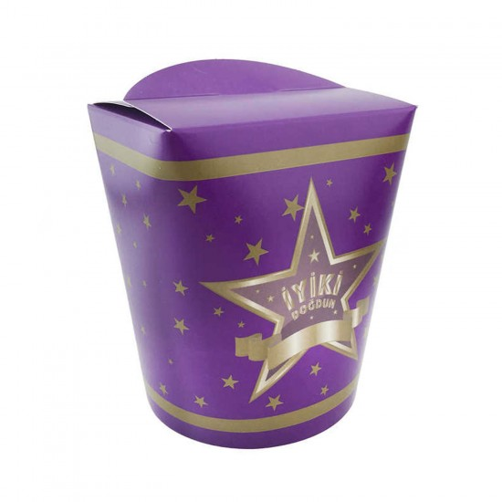 Karton Popcorn Kutusu İyiki Doğdun Yıldızlı (Mısır Kutusu(8 Adet)