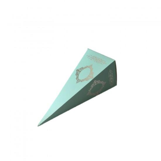 Karton Şeker Külahı Lüx Gümüş Yaldızlı Saray Desenli (25 Adet)