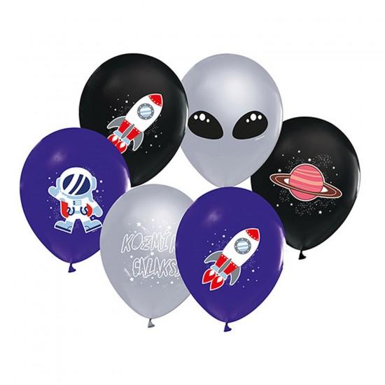 Kozmik Galaksi Temalı Pastel Balon Astronot Baskılı (20 Adet)