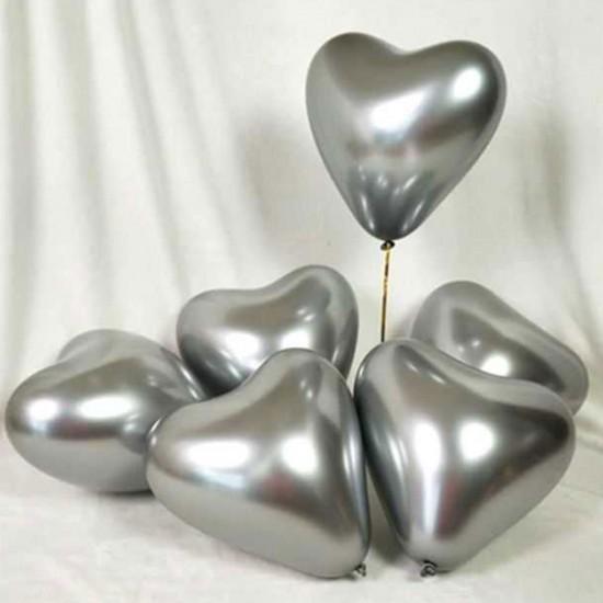 Krom Balon Parlak (Mırror) 16 İNÇ Kalp Model (5 Adet)