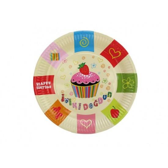 Tabak Karton İyiki Doğdun Pastalı 23 Cm  (8 Adet)