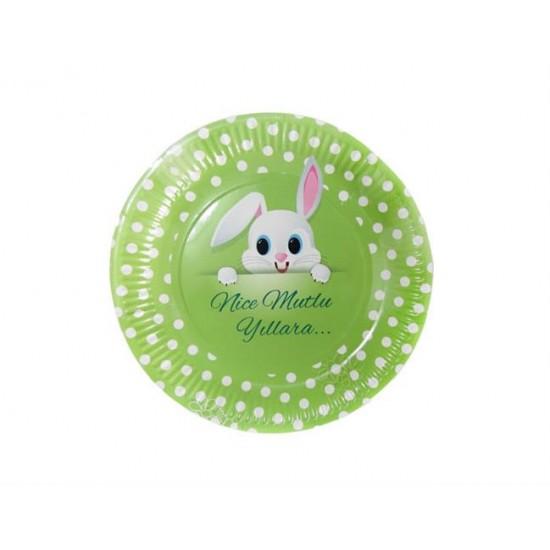 Tabak Karton Tavşan Resimli 23 Cm  (8 Adet)