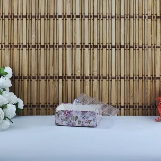 Asetat Kapaklı Karton Kutu Mor Çiçekli 8X8X3 (50 Adet)