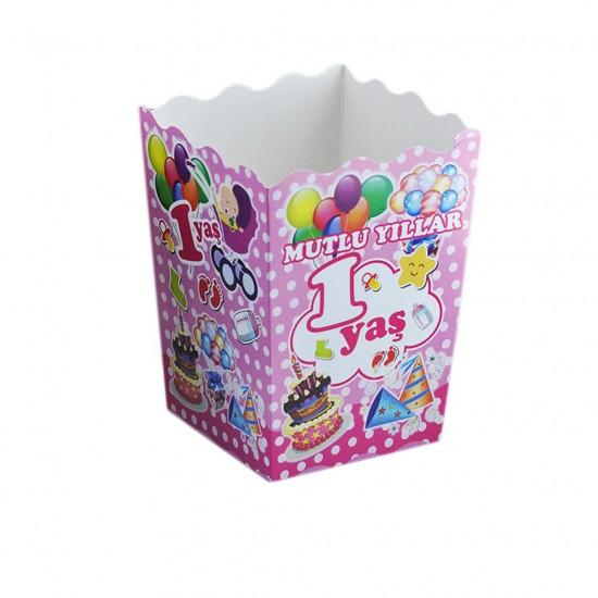 Popcorn Kutusu Karton 1 Yaş (Mısır Cips Kutusu) (10 Adet)
