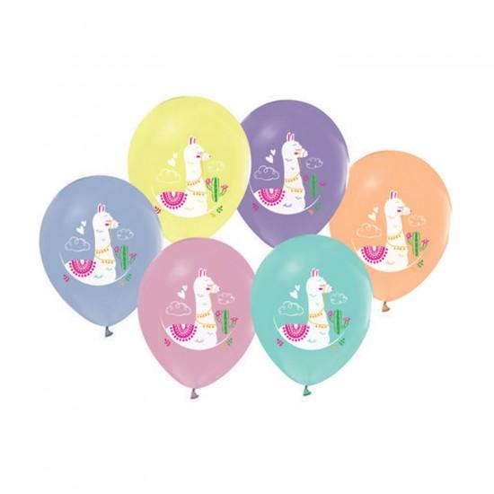 Lama Kaktüslü Temalı Pastel Balon Karışık Renki 12 İNÇ (20 Adet)