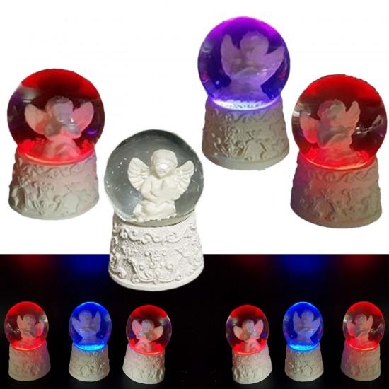 Melek Figürlü Işıklı Su Küresi Beyaz Renk 7X4.5 CM