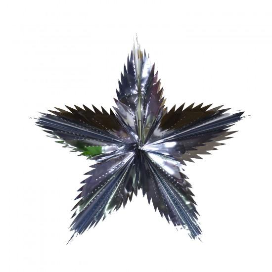 Metalize  Folyo Parlak Yıldız  Gümüş  Süs 113
