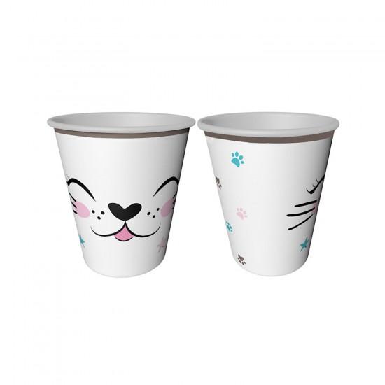 Miss Cat Temalı Karton Bardak Kedi Baskılı 220 CC (8 Adet)