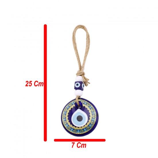 Cam Nazar Boncuğu Karışık Motifli Jüt İpli Model 7 CM