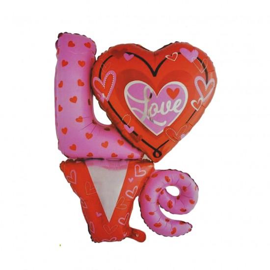 Folyo Balon Love Yazılı Birleşik Kalpli