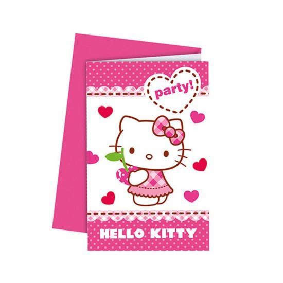 Hello Kitty Temalı Kalpler Parti Davetiyesi (6 Adet)