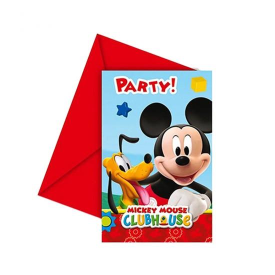 Mickey Mouse Temalı Parti Davetiyesi (6 Adet)