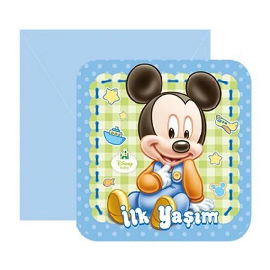 Mickey Mouse Temalı İlk Yaşım Parti Davetiyesi (6 Adet)
