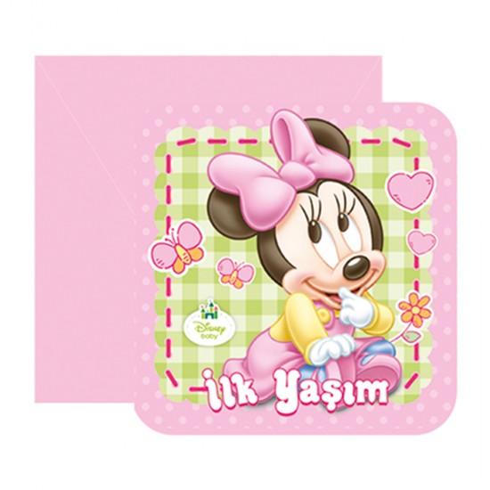 Minnie Mouse İlk Yaşım Parti Davetiyesi (6 Adet)