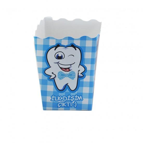 Popcorn Kutusu Karton İlk  Dişim Çıktı (Diş Buğdayı) (12 Adet)