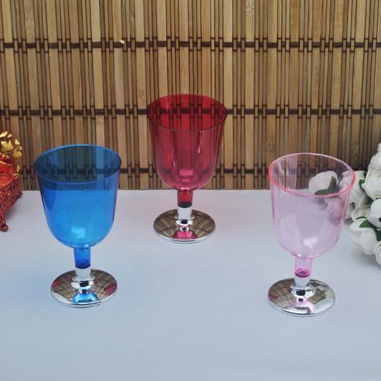 Plastik Şarap Bardağı Komple Renkli Gümüş Ayaklı (6 Adet)