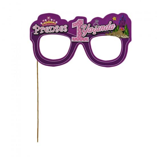 Çubuklu Gözlük Prens / Prenses 1 Yaşında (5 Adet)