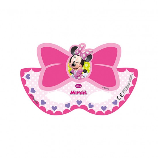 Minnie Mause Temalı Pembe Fiyonklu Kağıt Maske (6 Adet)