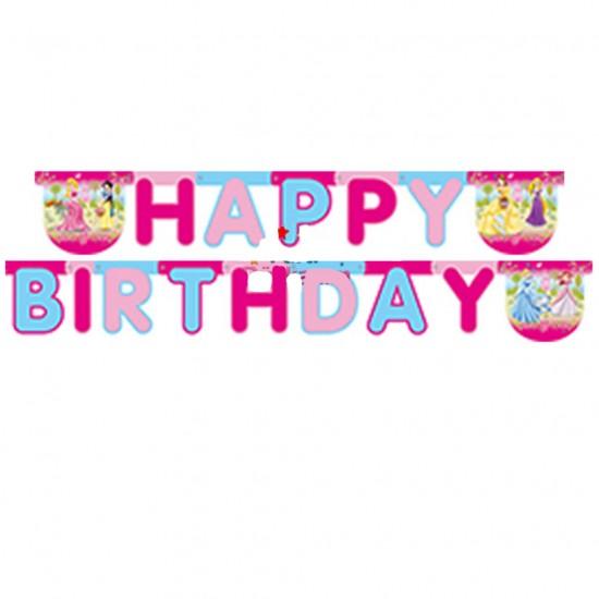Prensesler Temalı Happy Birthday Uzar Harf Afiş Duvar Yazısı