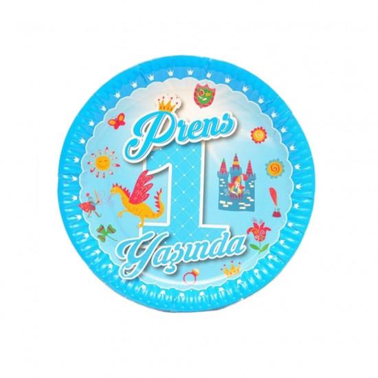 Tabak Karton Prens 1 Yaşında/Prenses 1 Yaşında 23 Cm (8 Adet)