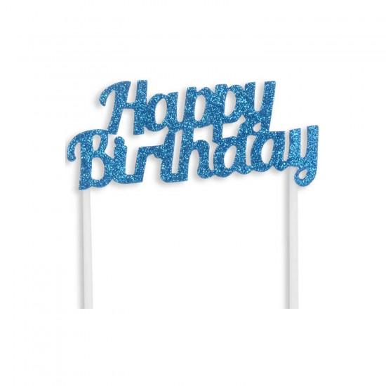 Pasta Süsü Evadan Simli Happy Birthday Çubuklu