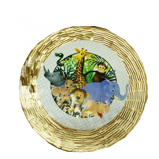 Safari Serisi Hayvanlar Temalı Metalize Pinyata + Sopası 45X10 CM