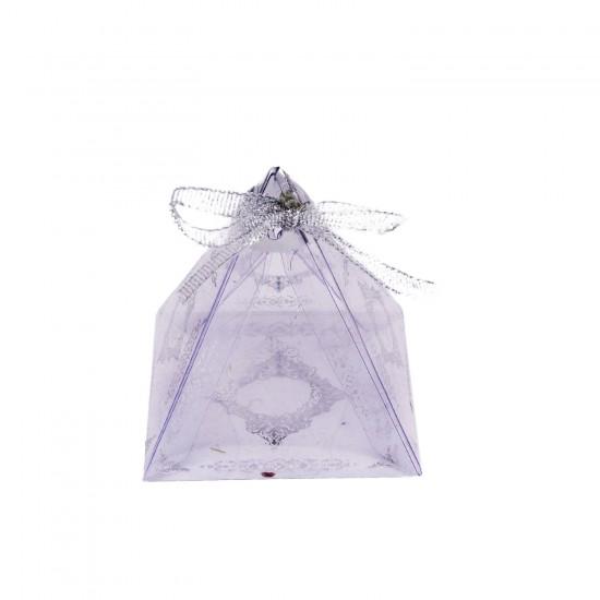 Piramit Asetat Kutu Üçgen Lokumluk Saray Desenli  6X6X6 (25 Adet)