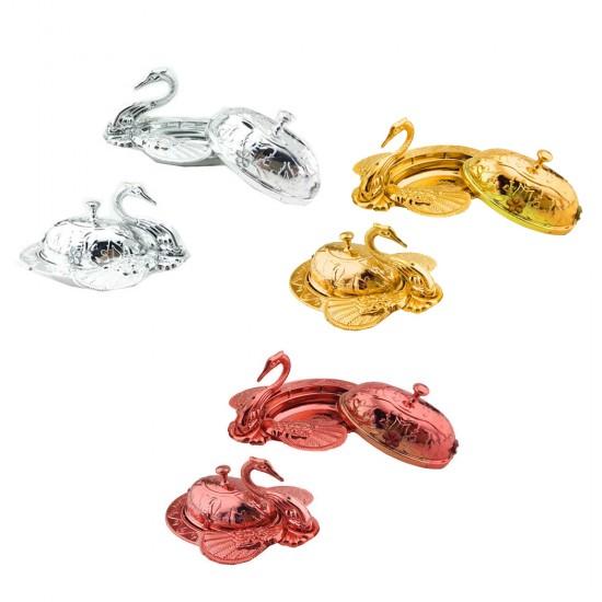 Plastik Lokumluk Kuğu Altın/Gümüş/Kırmızı (12 Adet)