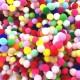 Renkli Ponpon Küçük Boy Rengarenk 3 CM  (50 Adet)