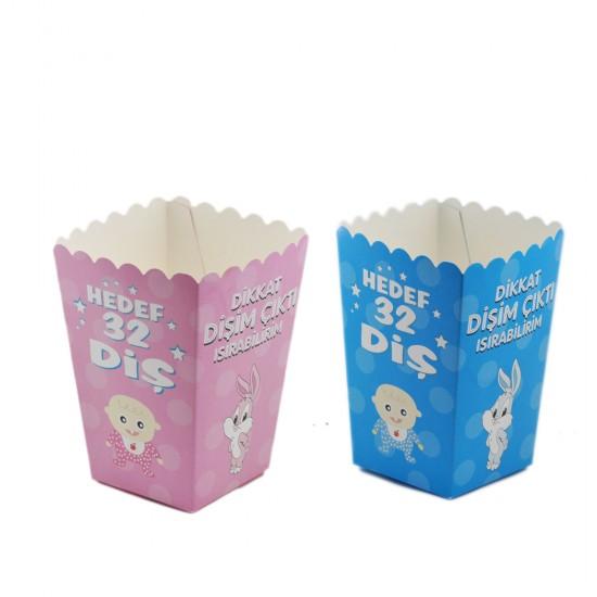 Karton Popcorn Kutusu Dikkat Dişim Çıktı (Diş Buğdayı) (10 Adet)