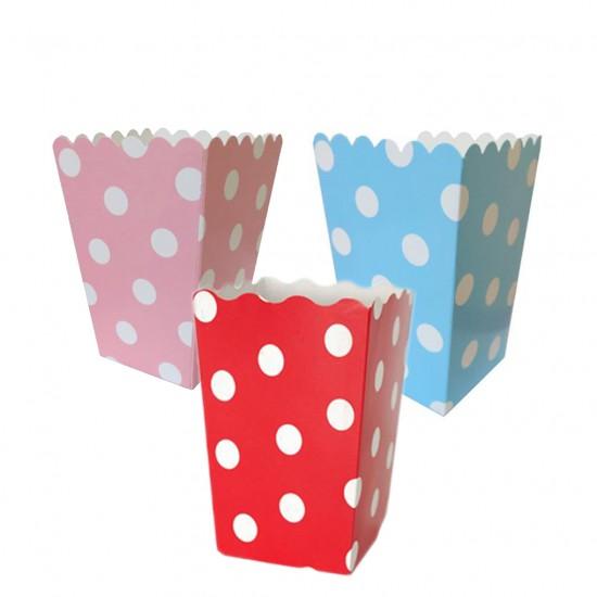 Popcorn Kutusu Karton Küçük Puanlı (Mısır Cips Kutusu)  (10 Adet)