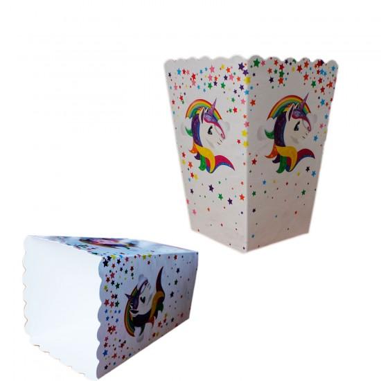 Unicorn Temalı Karton Popcorn Kutusu (Mısır Cips Kutusu)(10 Adet)