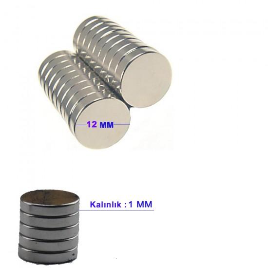 Çelik Mıknatıs 12 MM X 1 MM (70 Adet)
